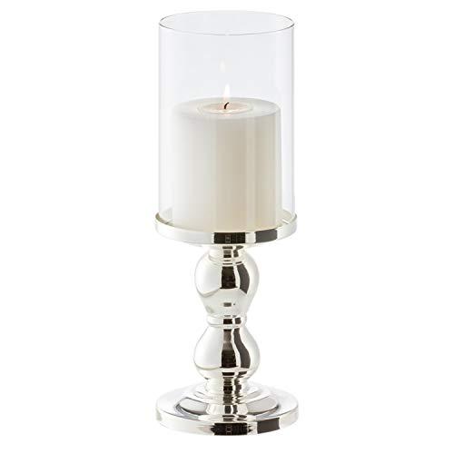 EDZARD Kerzenleuchter Windlicht Mascha, Höhe 28 cm, edel versilbert, anlaufgeschützt, für Stumpenkerzen bis ø 10 cm