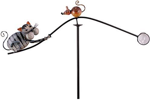 Pommerntraum ® | Windspiel - Gartenpendel - Unruhe - Gartendekoration - Gartenstecker - Gartenkunst Katze + Maus Tom + Jerry AUS Metall - HANDBEMALT