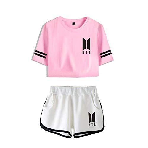 BTS Conjuntos Deportivos para Mujer Chándales Deportiva Camiseta Y Pantalones Cortos Cuello Redondo Crop Top Deportiva Corto T-Shirt Verano para Yoga Fitness,2,S