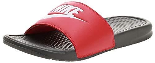 Nike Benassi, Sandalia de Diapositivas Hombre, Hierro Gris/Whitetrack Red, 42.5 EU