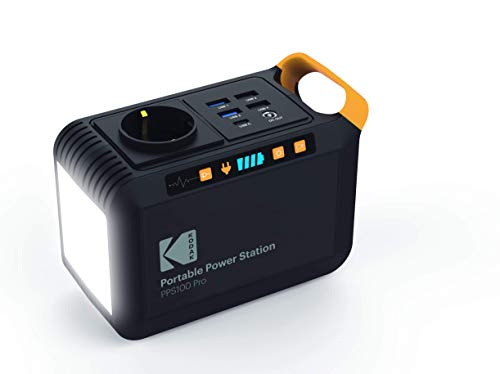 KODAK PPS100 Pro Portable Power Station mit 88,8 Wh Lithium-Ionen-Akku, mobiler AC/DC Steckdose, 1x USB-C, 2X USB Qualcomm Quick Charge Port