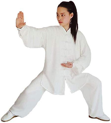 JINFAN Chinesische Tai Chi Kleidung Kampfkunst Trainingsanzug Tang Anzug Kung Fu Kleidung - Langarm Atmungsaktive Baumwollkragen Damen,White-XL