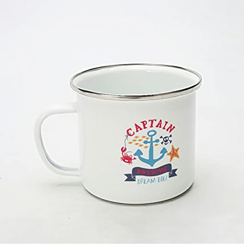 KittyliNO5 Taza esmaltada para capitán, navegación, ancla, estrella de mar, reutilizable y portátil, idea de regalo para los amantes del café, color blanco, 350 ml