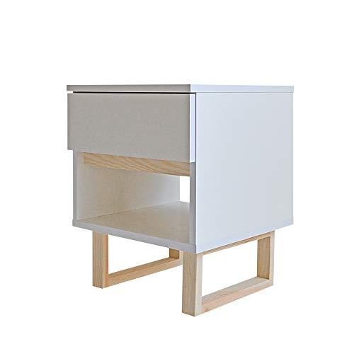 Selsey Scandinavia - Table de Chevet (Blanc/Bois de pin, 39 cm, tiroir, étagère)