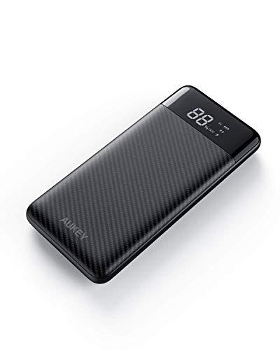 AUKEY Power Bank 10000mAh, USB C Caricabatterie Portatile con 3 uscite e 2 ingressi, Batteria Esterna per iPhone 11/PRO/XS, Samsung Note 10, iPad ECC.