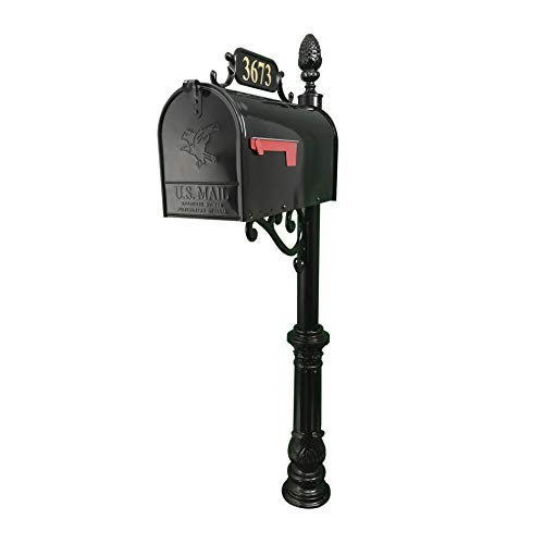 Addresses of Distinction Hampton Mailbox with Post Combo – Black Aluminum Decorative Mailbox – Includes Address Plaque, House Numbers, Pineapple Finial, & Hardware (Large)
