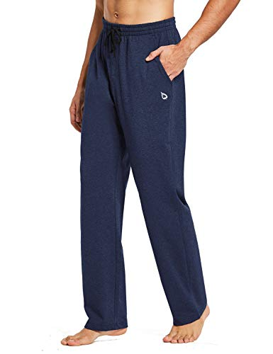 BALEAF Men's Cotton Yoga Sweatpants Open Bottom Joggers Straight Leg Running Casual Loose Fit Athletic Pants with Pockets Heather Blue L