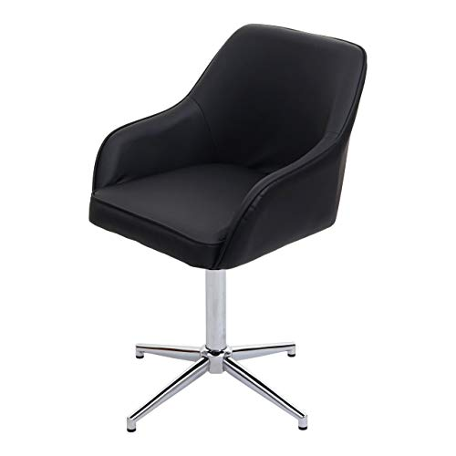 Mendler Esszimmerstuhl HWC-F82, Küchenstuhl Lehnstuhl, höhenverstellbar Drehmechanismus - Kunstleder schwarz, Chromfuß