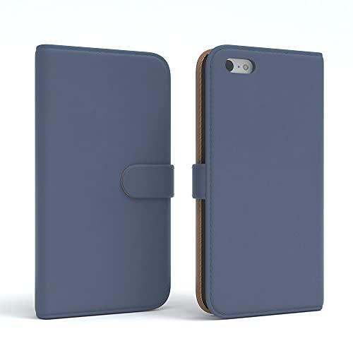 EAZY CASE Tasche kompatibel mit iPhone 5C Schutzhülle mit Standfunktion Klapphülle im Bookstyle, Handytasche Handyhülle Flip Cover mit Magnetverschluss & Kartenfach, Kunstleder, Dunkelblau