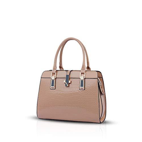 NICOLE&DORIS bolsos de las señoras nueva manera de patente del cuero de la cáscara de hombro portátil de la bolsa de mensajero de las mujeres(Khaki)