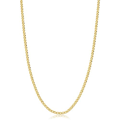 Solid 14k Yellow Gold Filled 2.55 mm Mariner Link Chain Necklace for Men and Women (16-36 inch)