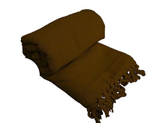 Couvre-lit 100 % en coton tissé - Motif alvéolé - Pour chaise, canapé et lit, 100 % coton, Marron chocolat/marron, Single : 178cm x 254cm