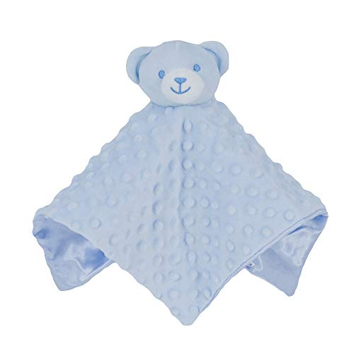Blue Soft Soother Stuffed Plush Bear Animal Baby Comforter Toy Blanket   New Born Baby Girl and Boy Infant Toddler Cuddle Snuggle Toy Blankets for Nursery Strollers, Cots, Cribs, Car Seats