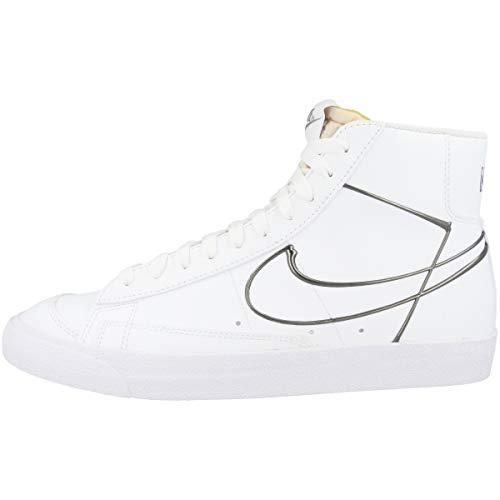 Nike Sneaker da uomo Mid Blazer Mid '77, Bianco (White Metallic Pewter Dh4099 100), 41 EU