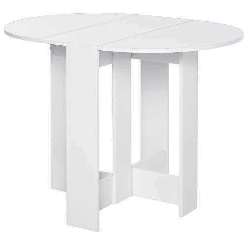 HOMCOM Mesa de Comedor Plegable con 2 Alas Abatibles Mesa Auxiliar de Madera para Cocina Salón 104x76x73,7 cm Blanco