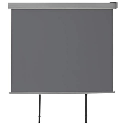 UnfadeMemory Balkon-Seitenmarkise Multifunktional Balkonsichtschutz Einziehbar Balkonmarkise Automatisch Rollen Wind-/Sichtschutz Wandmontage Aluminiumrahmen (150 x 200 cm, Grau)