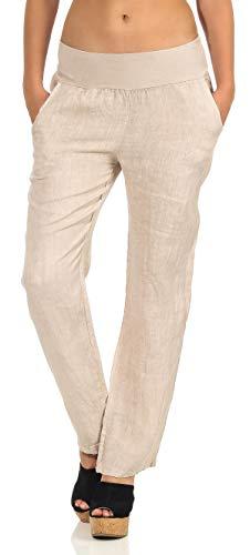 malito dames broek uit linnen | stoffen broek in effen kleuren | Vrijetijdsbroek voor aan het strand | Chino - Joggingbroek 7792