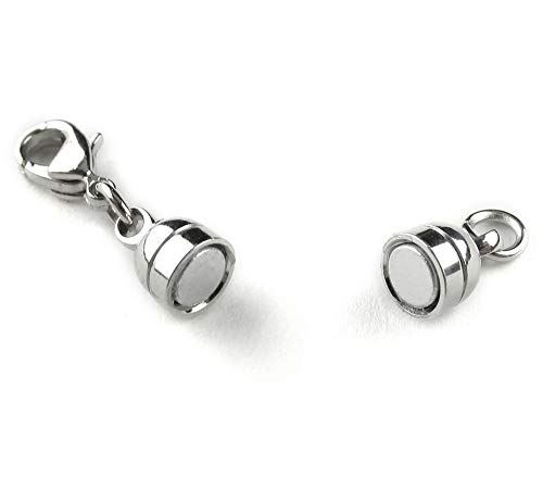 8 CleverDelights Magnetic Jewelry Clasps - Capsule Style + Lobster Clasp - Silver Color - Clasp Converter