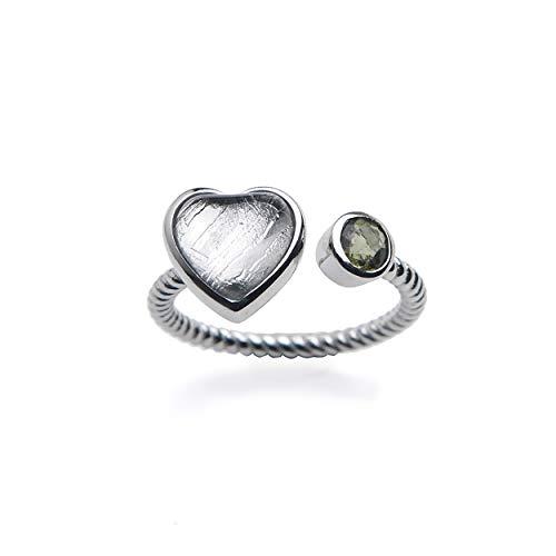 LiZiFang Genuine Natural Gibeon MOLDAVITE Meteorite 925 Silver Woman Man Adjustable Ring