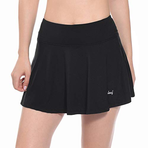 BALEAF Women's Athletic Golf Skirt Tennis Skort Pleated with Pockets Black Size S