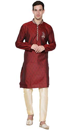 SKAVIJ Herren Tunika Kurta Pajama Set Paisley Kleid (Rot, Large)