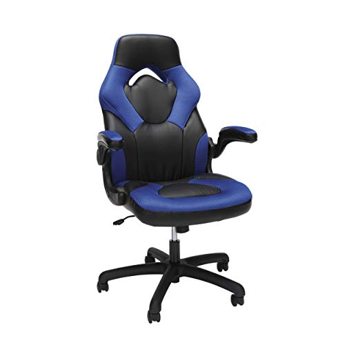 Essentials Racing Style Leather Gaming Chair - Ergonomic Swivel Computer, Office or Gaming Chair, Blue (ESS-3085-BLU) (Renewed) blue chair gaming