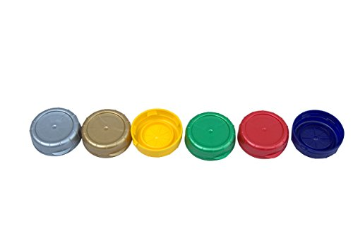 The Dairy Shoppe Multi Color Easy ID Caps for Glass Milk Bottles 48 MM (6, Multi Color)