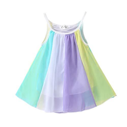 Julhold Peuter Kinderen Baby Meisjes Mode Leuke Prinses Kleding Mouwloos Chiffon Losse Tutu Regenboog Jurken 1-5 Jaar