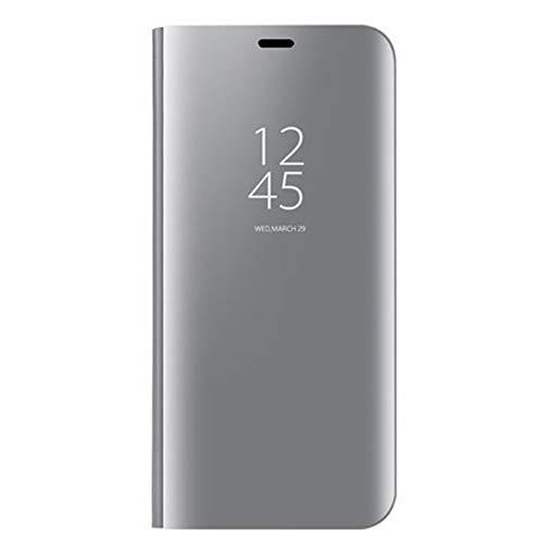 KERUN Hülle Für LG K61, ultradünnen Spiegel für mit Standfunktion flip case, hülle Tasche Flip Schutzhülle für LG K61(Silber)