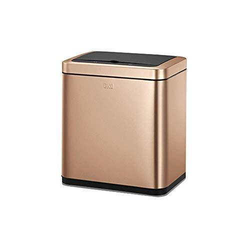 Afvalbak, automatische contactloze sensor, afvalbak, bandbreedte opening, keukensensor, enkele opening, bak (kleur: Champagne Gold-9l)