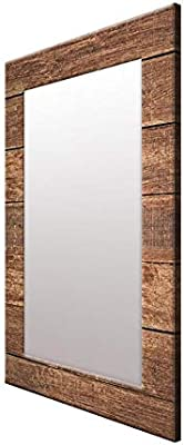 999Store Printed Brown Wooden Pattern Mirror