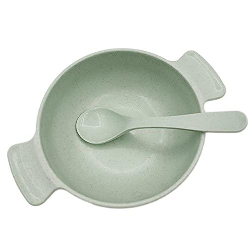 AIysays Bebé alimentando Comida vajilla ecológico para niños Platos bebé niño Comiendo vajilla Anti-Caliente Tazón de Entrenamiento + Cuchara Easy to Use (Color : Green Set)