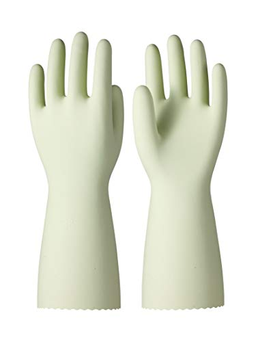 LANON Wahoo SIL-PUR Silicone Household Cleaning Gloves Food Grade, Reusable Unlined Dishwashing Gloves, Non-Slip, Green, Medium