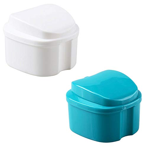 2 Pack Colors Denture Bath Case Cup Box Holder Storage Soak Container with Strainer Basket for Travel Cleaning (Light Blue, White)