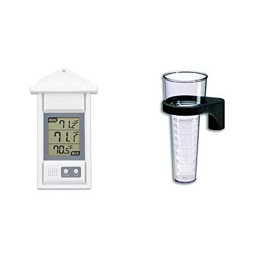 TFA Dostmann Digitales Thermometer für innen oder außen, 30.1039, wetterfest, Höchst-und Tiefwerte & 47.1006 Analoger Regenmesser, schwarz
