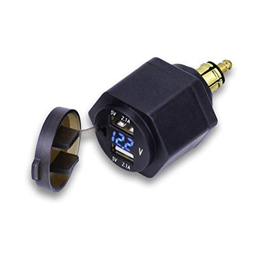 Bweele Bordsteckdose Stecker,Dual USB Ladegerät Adapter mit LED Voltmeter für BMW Motorrad/Handy/iPhone/GPS/SatNav