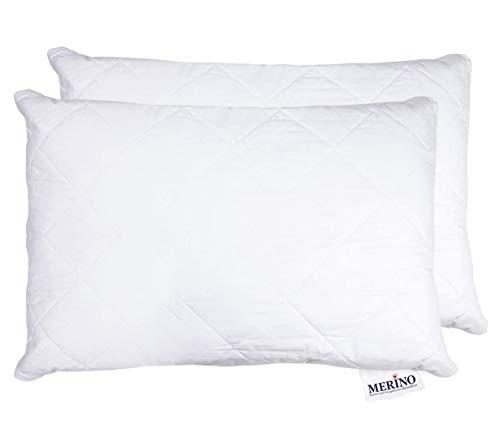 MERINO BETTEN Hochwertiges Schlafkissen 40x80 Set | Kopfkissen | Kissenhülle versteppt mit Reißverschluss | Serie Perle