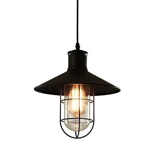 GYYlucky vintage hanglamp van zwart metaal en glazen scherm, waterdicht, IP23 E27 hanglamp voor binnen en buiten, voor tuin, terras, paviljoen UVA