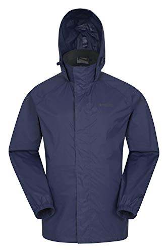 Mountain Warehouse Chaqueta Impermeable para Hombre Pakka - Chaqueta Plegable con Capucha, Abrigo para Hombre con Bandas Reflectantes, Chaqueta Ligera para la Lluvia Azul Marino XL