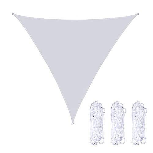 QINZC 5x5x5m Toldo Vela De Sombra Triangular Impermeable Toldo Vela Parasol Solar 90% Resistente UV Transpirable para JardíN Patio Terraza BalcóN Exteriores,Blanco
