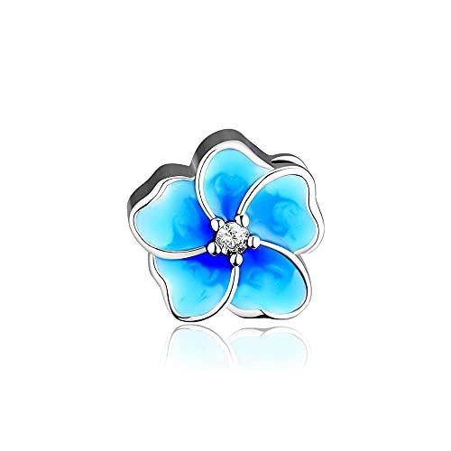 LIIHVYI Pandora Charms para Mujeres Cuentas Plata De Ley 925 Joyería De Metal con Flor De Esmalte Azul Compatible con Pulseras Europeos Collars