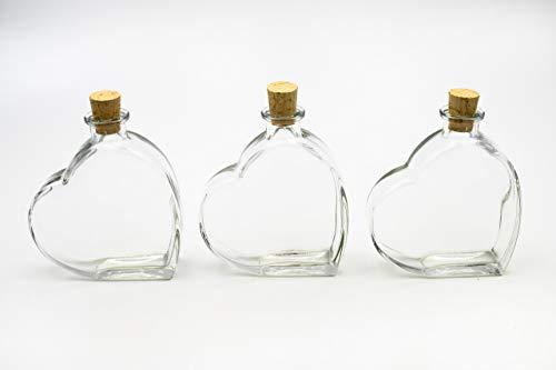 Flaschenbauer - 3 x Herz Flasche Passion: Glasflasche Herz 200 ml - 3 Mini Glasflaschen mit Korken verwendbar als Geschenkidee, kleine Glasflaschen 200ml, Schnapsflaschen klein oder Deko Flaschen