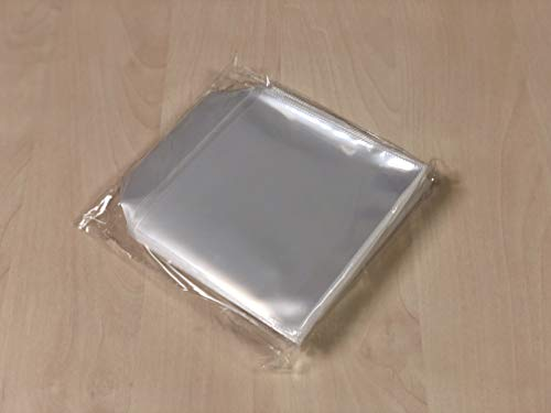 100 Fundas Alta Calidad CD/DVD,Plástico ECOLÓGICO,Transparentes,Lisas,con Solapa,Costuras Resistentes,Fabricadas en PP Polipropileno (Mejor que el PVC), 10 micras de grosor.Sobres MÁDORI