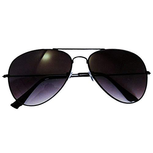 CVBN 3026 Gafas de Sol con película de Color de Personalidad para Hombres y Mujeres Gafas de Sol Anti-UV, Marco Negro Doble Gris