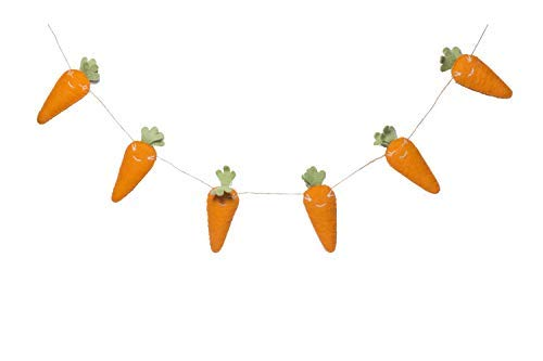De Kulture Handmade Felt Easter Carrot Garland (48 inches Long) for Easter Decoration Home Decoration Party Decoration