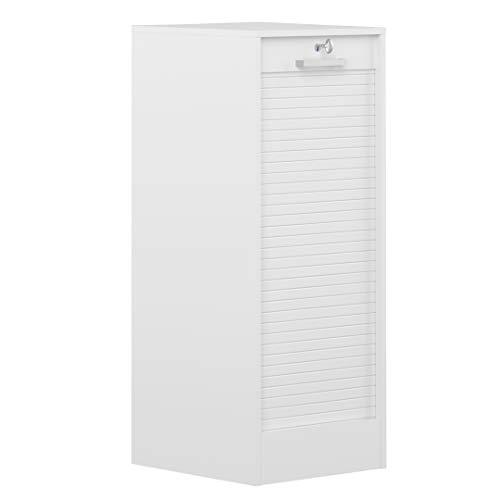 Archivador con Puerta de persiana (106 cm, Tablero de Madera aglomerada), Color Blanco