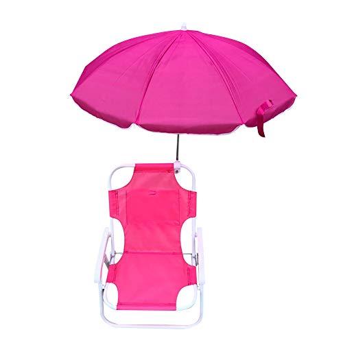 fuguzhu Silla Plegable Infantil Acolchado Multiusos, con Sombrilla Playa, Playa Ajustable Y Plegable, Adecuado para NiñOs De 2 A 5 AñOs, Silla NiñOs Infantil (Rosa)