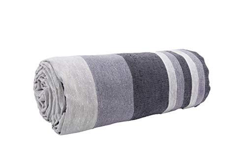 HomeLife – Funda decorativa para sofá a rayas, 260 x 260 cm, fabricada en Italia – Sábana cubrecama de algodón puro – Granfoulard para cama individual – Fabricado en Italia [2 plazas – Gris