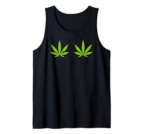 Hoja de cannabis Disfraz de Halloween divertido Pechos Camiseta sin Mangas