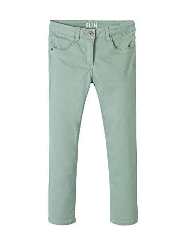 Vertbaudet Mädchen Slim-Fit-Hose, Hüftweite Comfort graugrün 140